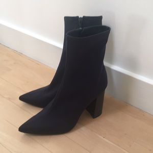 Jeffrey Campbell navy high heel ankle boots